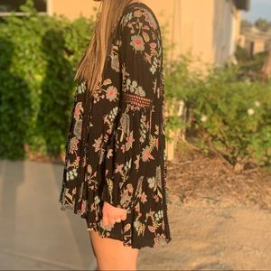 Free People Black Floral Dress